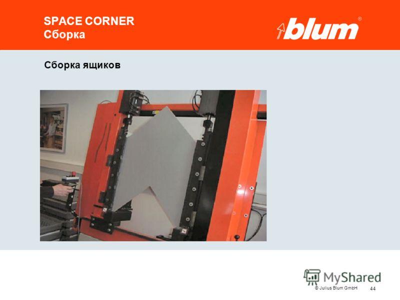 44 © Julius Blum GmbH Сборка ящиков SPACE CORNER Сборка