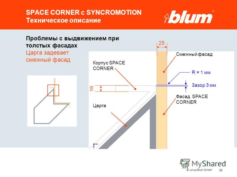 55 © Julius Blum GmbH SPACE CORNER с SYNCROMOTION Техническое описание Проблемы с выдвижением при толстых фасадах Царга задевает смежный фасад 25 Царга Корпус SPACE CORNER Смежный фасад Фасад SPACE CORNER Зазор 3 мм R = 1 мм 16