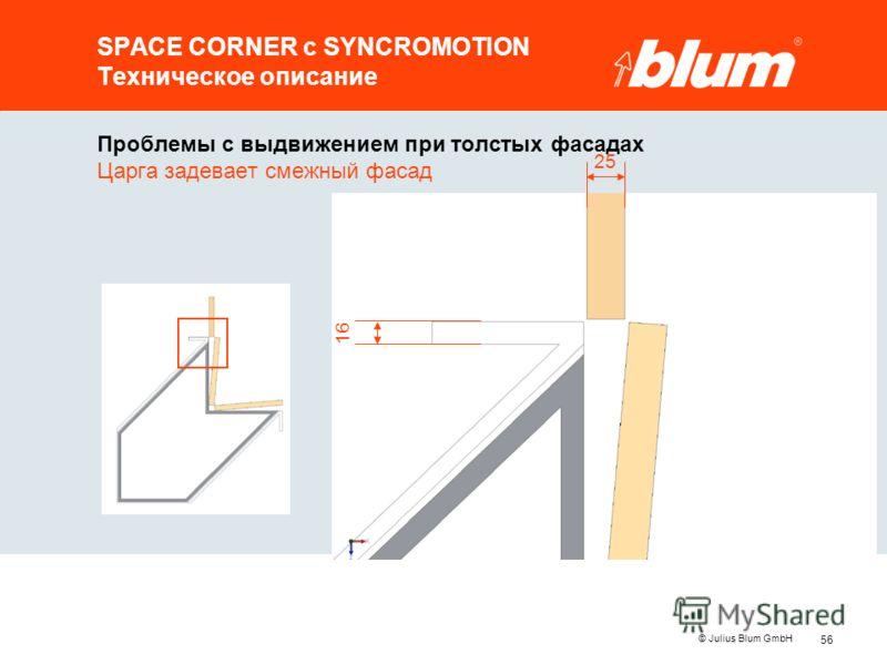 56 © Julius Blum GmbH SPACE CORNER с SYNCROMOTION Техническое описание Проблемы с выдвижением при толстых фасадах Царга задевает смежный фасад 25 16
