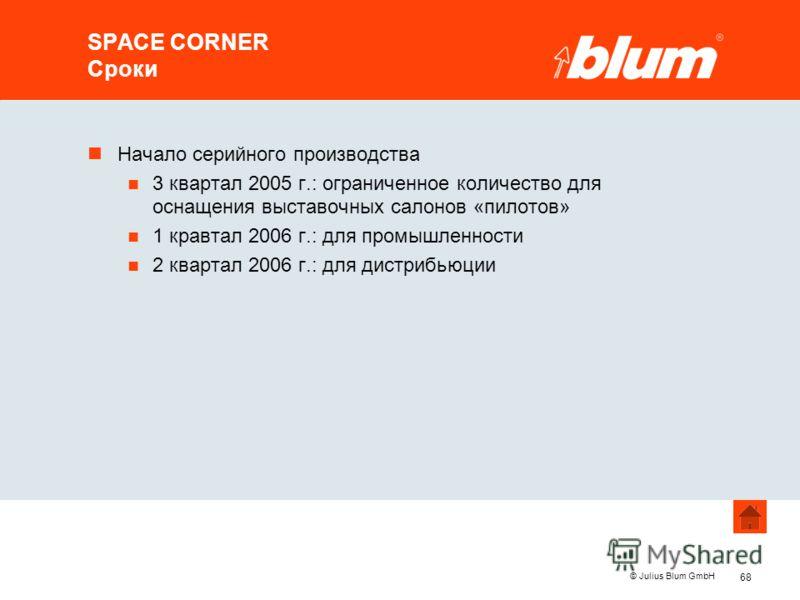 68 © Julius Blum GmbH SPACE CORNER Сроки nНачало серийного производства n 3 квартал 2005 г.: ограниченное количество для оснащения выставочных салонов «пилотов» n 1 кравтал 2006 г.: для промышленности n 2 квартал 2006 г.: для дистрибьюции