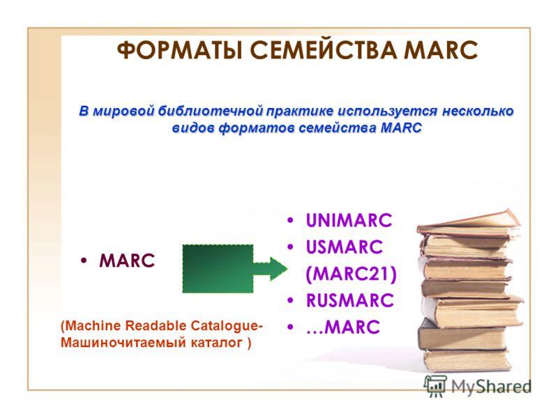 ФОРМАТЫ СЕМЕЙСТВА MARC UNIMARC USMARC (MARC21) RUSMARC …MARC MARC В мировой библиотечной практике используется несколько видов форматов семейства MARC (Machine Readable Catalogue- Машиночитаемый каталог )