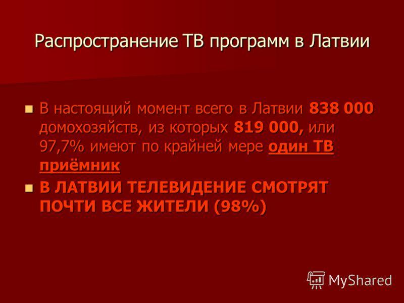 Распространение ТВ программ в Латвии В настоящий момент всего в Латвии 838 000 домохозяйств, из которых 819 000, или 97,7% имеют по крайней мере один ТВ приёмник В настоящий момент всего в Латвии 838 000 домохозяйств, из которых 819 000, или 97,7% им