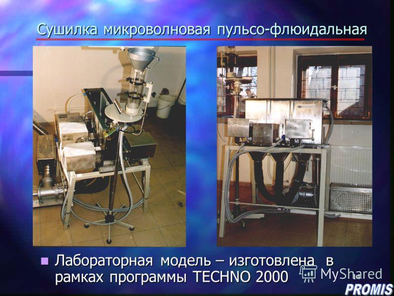 14 Сушилка микроволновая пульсо-флюидальная Лабораторная модель – изготовлена в рамках программы ТECHNO 2000 Лабораторная модель – изготовлена в рамках программы ТECHNO 2000