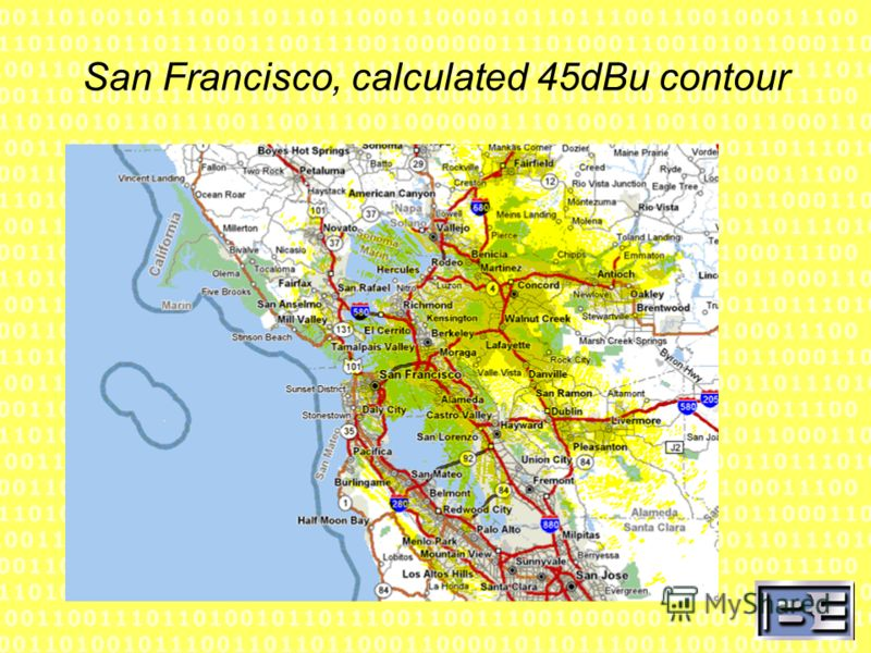 San Francisco, calculated 45dBu contour