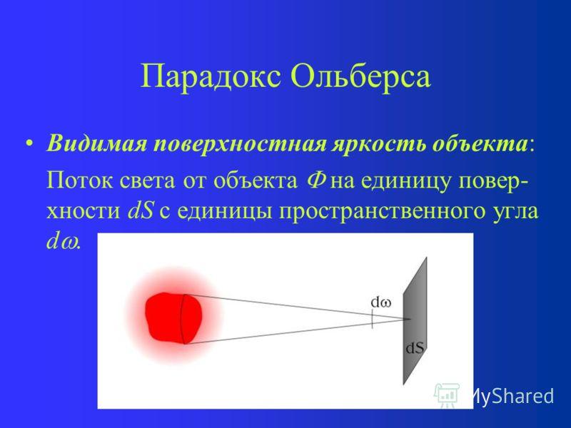 Парадокс Ольберса Другое название – фотометрический парадокс Его сформулировал в 1744 году Ж. Шезо (Швейцария) и в 1826 году Г. Ольберс (Германия) Парадокс – очевидное противоречие теории и данных наблюдений Верен для бесконечной и статичной вселенно