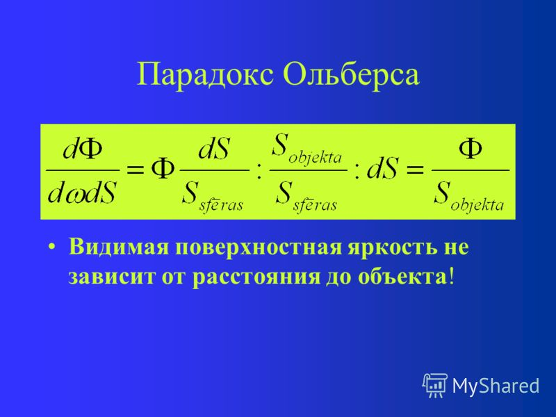 Парадокс Ольберса Видимая поверхностная яркость объекта: Поток света от объекта на единицу повер- хности dS с единицы пространственного угла d.