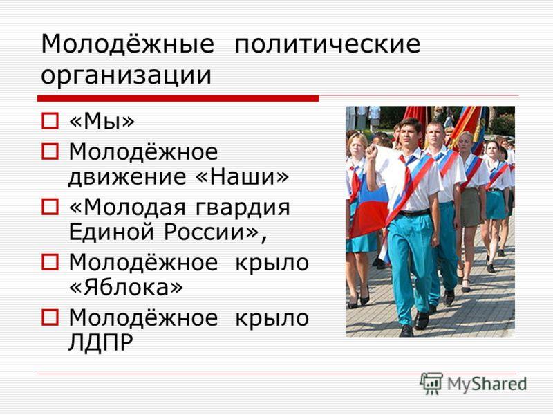 Молодёжные политические организации «Мы» Молодёжное движение «Наши» «Молодая гвардия Единой России», Молодёжное крыло «Яблока» Молодёжное крыло ЛДПР