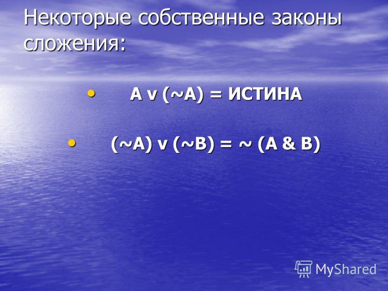 Некоторые собственные законы сложения: A v (~A) = ИСТИНА A v (~A) = ИСТИНА (~A) v (~B) = ~ (A & B) (~A) v (~B) = ~ (A & B)