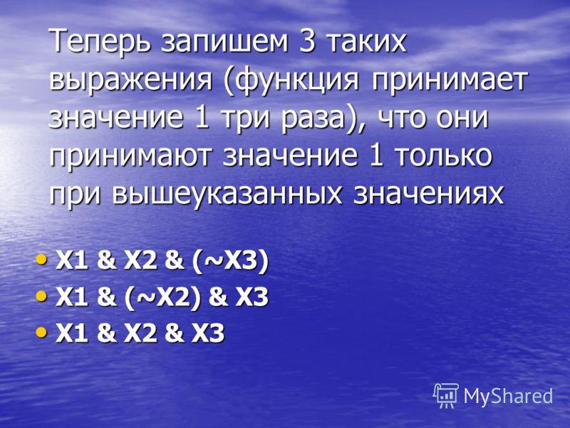 Теперь запишем 3 таких выражения (функция принимает значение 1 три раза), что они принимают значение 1 только при вышеуказанных значениях X1 & X2 & (~X3) X1 & X2 & (~X3) X1 & (~X2) & X3 X1 & (~X2) & X3 X1 & X2 & X3 X1 & X2 & X3