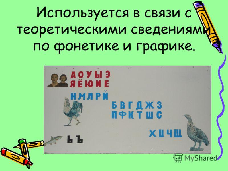 Используется в связи с теоретическими сведениями по фонетике и графике.