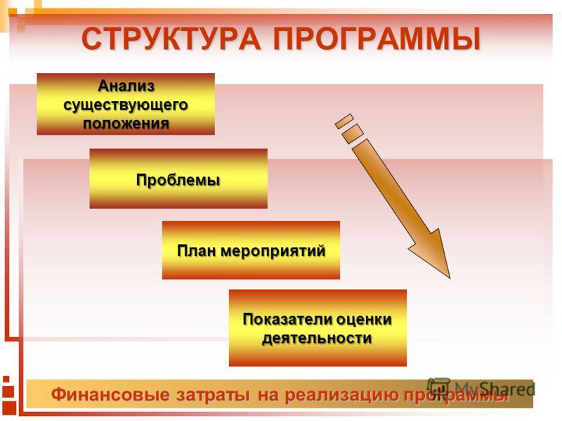 СТРУКТУРА ПРОГРАММЫ Финансовые затраты на реализацию программы Анализ существующего положения Проблемы План мероприятий Показатели оценки деятельности