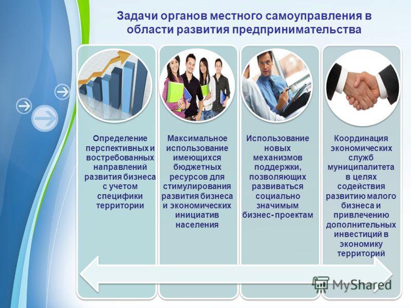 Powerpoint Templates Page 2 Задачи органов местного самоуправления в области развития предпринимательства Определение перспективных и востребованных направлений развития бизнеса с учетом специфики территории Максимальное использование имеющихся бюдже