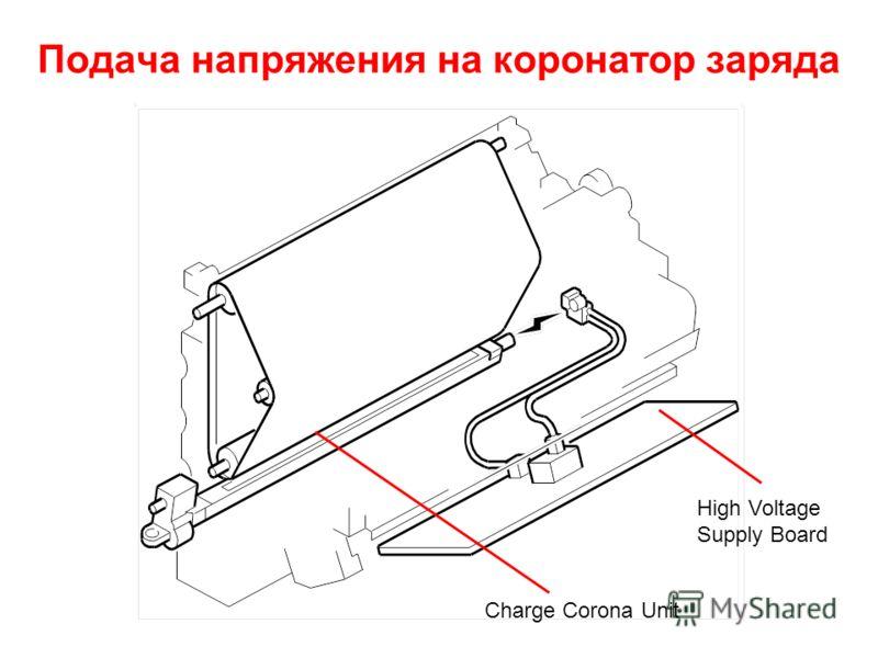 Подача напряжения на коронатор заряда Charge Corona Unit High Voltage Supply Board