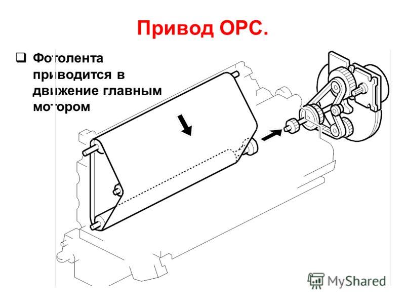 Фотолента приводится в движение главным мотором Привод OPC.