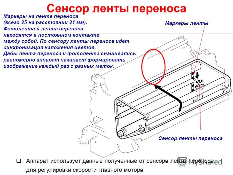 Аппарат использует данные полученные от сенсора ленты переноса для регулировки скорости главного мотора. Сенсор ленты переноса Маркеры на ленте переноса (всего 25 на расстоянии 21 мм). Фотолента и лента переноса находятся в постоянном контакте между