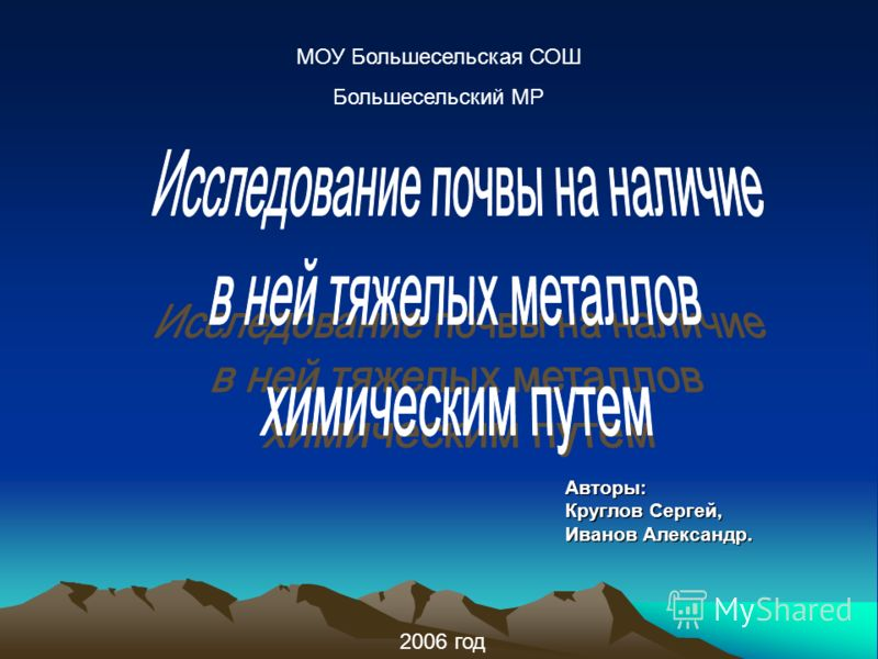 МОУ Большесельская СОШ Большесельский МР 2006 год Авторы: Круглов Сергей, Иванов Александр.