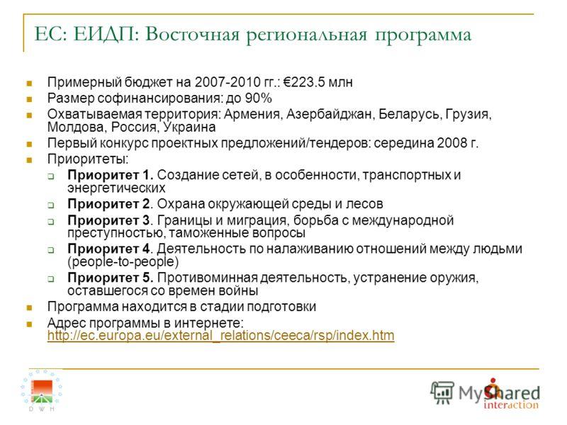 ЕС: ЕИДП: Восточная региональная программа Примерный бюджет на 2007-2010 гг.: 223.5 млн Размер софинансирования: до 90% Охватываемая территория: Армения, Азербайджан, Беларусь, Грузия, Молдова, Россия, Украина Первый конкурс проектных предложений/тен
