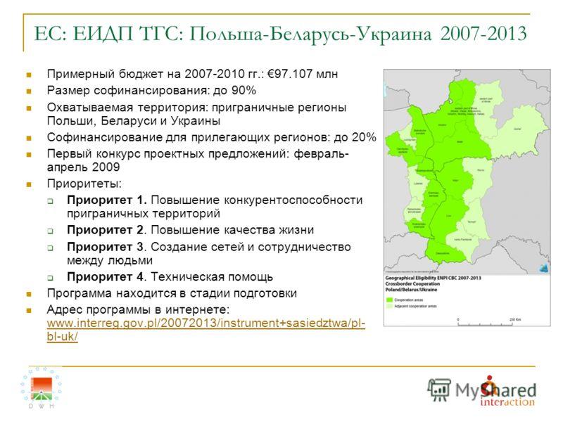 ЕС: ЕИДП ТГС: Польша-Беларусь-Украина 2007-2013 Примерный бюджет на 2007-2010 гг.: 97.107 млн Размер софинансирования: до 90% Охватываемая территория: приграничные регионы Польши, Беларуси и Украины Софинансирование для прилегающих регионов: до 20% П
