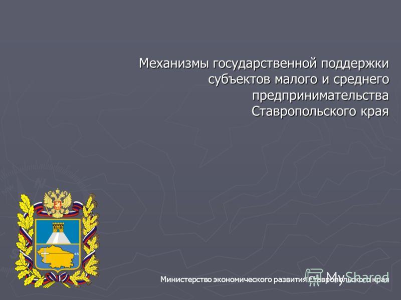 Механизмы государственной поддержки субъектов малого и среднего предпринимательства Ставропольского края Министерство экономического развития Ставропольского края