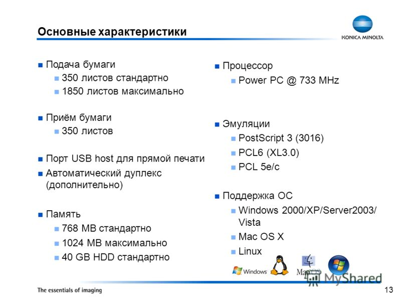 13 Процессор Power PC @ 733 MHz Эмуляции PostScript 3 (3016) PCL6 (XL3.0) PCL 5e/c Поддержка ОС Windows 2000/XP/Server2003/ Vista Mac OS X Linux Подача бумаги 350 листов стандартно 1850 листов максимально Приём бумаги 350 листов Порт USB host для пря