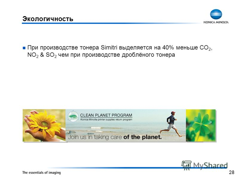 28 Экологичность При производстве тонера Simitri выделяется на 40% меньше CO 2, NO 2 & SO 2 чем при производстве дроблёного тонера