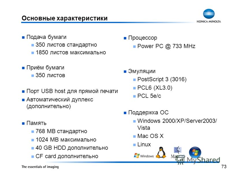73 Процессор Power PC @ 733 MHz Эмуляции PostScript 3 (3016) PCL6 (XL3.0) PCL 5e/c Поддержка ОС Windows 2000/XP/Server2003/ Vista Mac OS X Linux Подача бумаги 350 листов стандартно 1850 листов максимально Приём бумаги 350 листов Порт USB host для пря