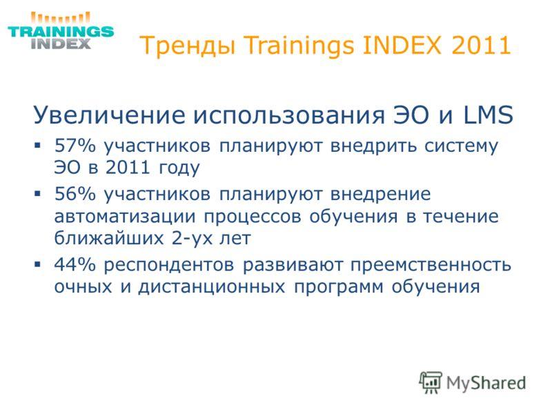 Тренды Trainings INDEX 2011 Увеличение использования ЭО и LMS 57% участников планируют внедрить систему ЭО в 2011 году 56% участников планируют внедрение автоматизации процессов обучения в течение ближайших 2-ух лет 44% респондентов развивают преемст