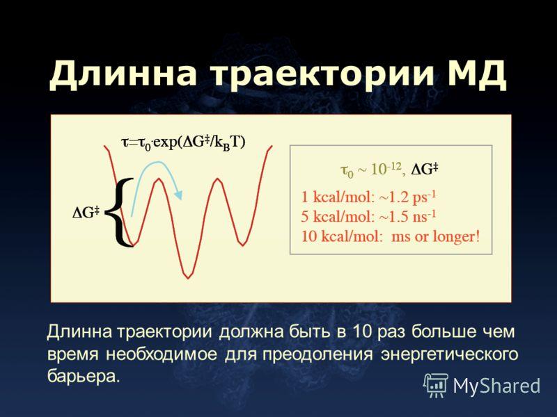 Длинна траектории МД Длинна траектории должна быть в 10 раз больше чем время необходимое для преодоления энергетического барьера.