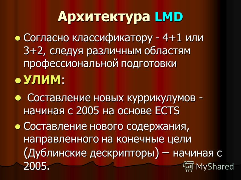 Архитектура LMD Согласно классификатору - 4+1 или 3+2, следуя различным областям профессиональной подготовки Согласно классификатору - 4+1 или 3+2, следуя различным областям профессиональной подготовки УЛИМ: УЛИМ: Составление новых куррикулумов - нач