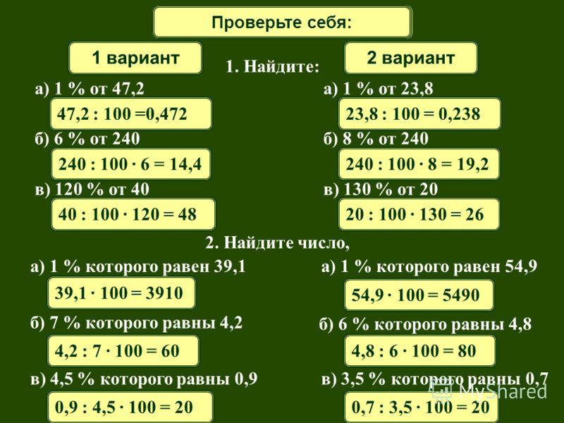 Математический диктантПроверьте себя: 1 вариант2 вариант 1. Найдите: 240 : 100 · 6 = 14,4 а) 1 % от 47,2 б) 6 % от 240 в) 120 % от 40 47,2 : 100 =0,472 2. Найдите число, 39,1 · 100 = 3910 4,2 : 7 · 100 = 60 0,9 : 4,5 · 100 = 20 а) 1 % которого равен
