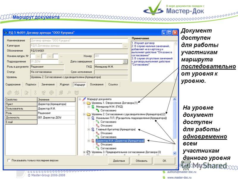 Документ доступен для работы участникам маршрута последовательно от уровня к уровню. На уровне документ доступен для работы одновременно всем участникам данного уровня Маршрут документа © Master-Group 2006-2008