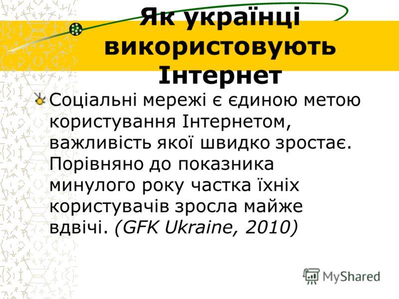Як українці використовують Інтернет Соціальні мережі є єдиною метою користування Інтернетом, важливість якої швидко зростає. Порівняно до показника минулого року частка їхніх користувачів зросла майже вдвічі. (GFK Ukraine, 2010)