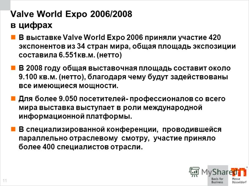 11 Valve World Expo 2006/2008 в цифрах В выставке Valve World Expo 2006 приняли участие 420 экспонентов из 34 стран мира, общая площадь экспозиции составила 6.551кв.м. (нетто) В 2008 году общая выставочная площадь составит около 9.100 кв.м. (нетто),