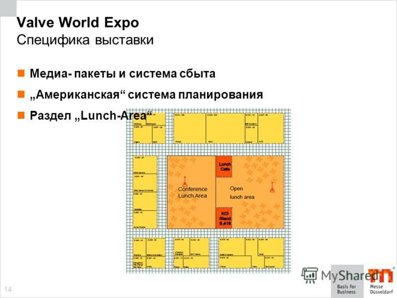 14 Valve World Expo Специфика выставки Медиа- пакеты и система сбыта Американская система планирования Раздел Lunch-Area