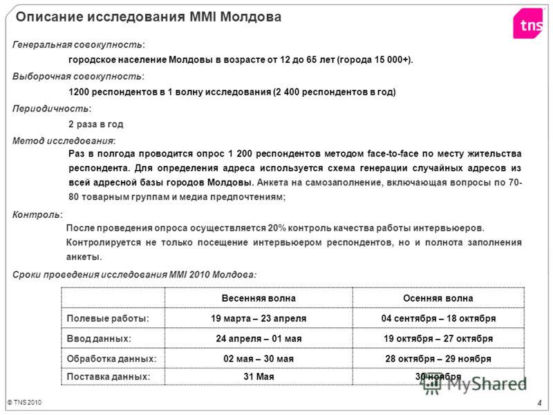 © TNS 2010 4 Генеральная совокупность: городское население Молдовы в возрасте от 12 до 65 лет (города 15 000+). Выборочная совокупность: 1200 респондентов в 1 волну исследования (2 400 респондентов в год) Периодичность: 2 раза в год Метод исследовани