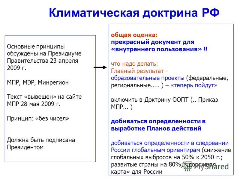 Основные принципы обсуждены на Президиуме Правительства 23 апреля 2009 г. МПР, МЭР, Минрегион Текст «вывешен» на сайте МПР 28 мая 2009 г. Принцип: «без чисел» Должна быть подписана Президентом Климатическая доктрина РФ общая оценка: прекрасный докуме