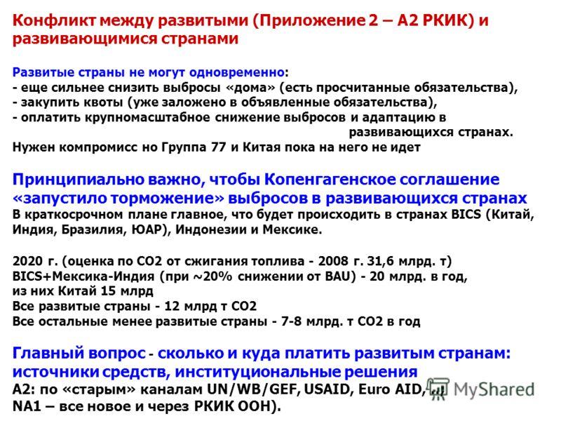 Конфликт между развитыми (Приложение 2 – А2 РКИК) и развивающимися странами Развитые страны не могут одновременно: - еще сильнее снизить выбросы «дома» (есть просчитанные обязательства), - закупить квоты (уже заложено в объявленные обязательства), -