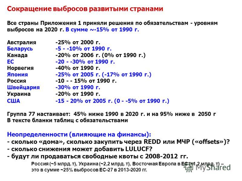 Сокращение выбросов развитыми странами Все страны Приложения 1 приняли решения по обязательствам - уровням выбросов на 2020 г. В сумме ~-15% от 1990 г. Австралия -25% от 2000 г. Беларусь -5 - -10% от 1990 г. Канада -20% от 2006 г. (0% от 1990 г.) ЕС