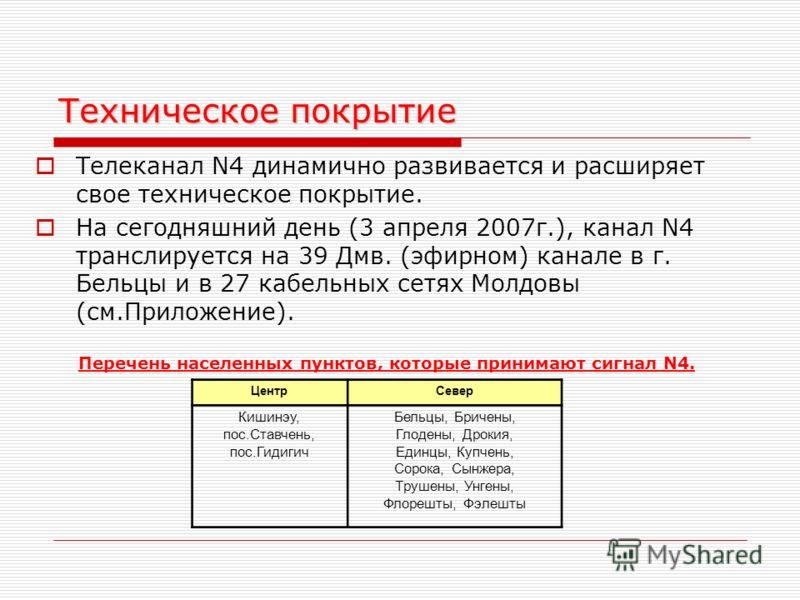 Техническое покрытие Телеканал N4 динамично развивается и расширяет свое техническое покрытие. На сегодняшний день (3 апреля 2007г.), канал N4 транслируется на 39 Дмв. (эфирном) канале в г. Бельцы и в 27 кабельных сетях Молдовы (см.Приложение). Переч
