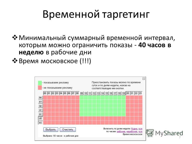 Временной таргетинг Минимальный суммарный временной интервал, которым можно ограничить показы - 40 часов в неделю в рабочие дни Время московское (!!!) 7