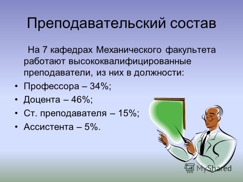 Преподавательский состав На 7 кафедрах Механического факультета работают высококвалифицированные преподаватели, из них в должности: Профессора – 34%; Доцента – 46%; Ст. преподавателя – 15%; Ассистента – 5%.