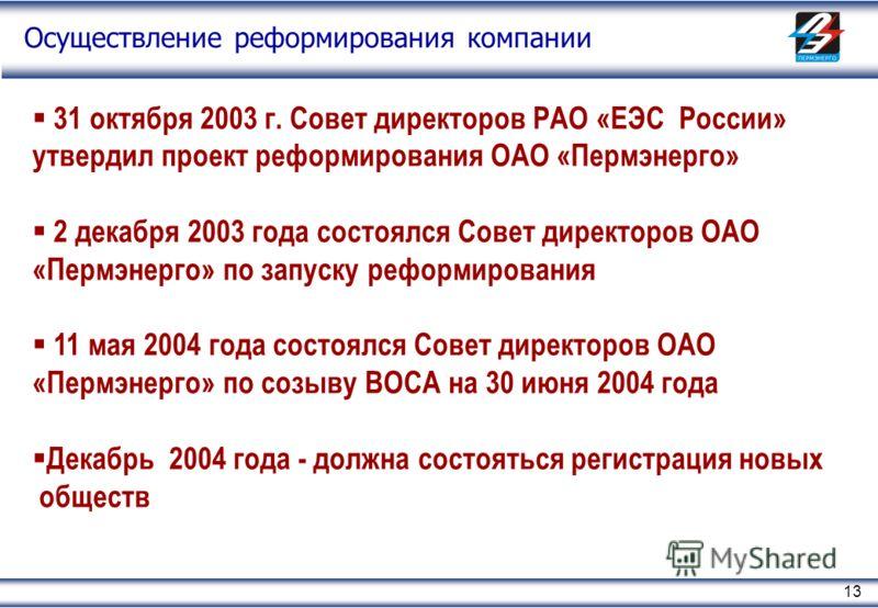 13 31 октября 2003 г. Совет директоров РАО «ЕЭС России» утвердил проект реформирования ОАО «Пермэнерго» 2 декабря 2003 года состоялся Совет директоров ОАО «Пермэнерго» по запуску реформирования 11 мая 2004 года состоялся Совет директоров ОАО «Пермэне