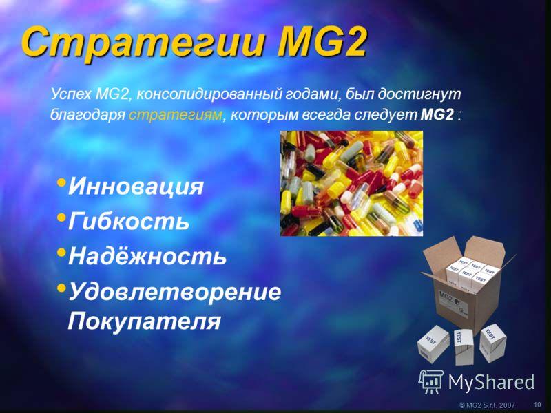 © MG2 S.r.l. 2007 10 Стратегии MG2 Успех MG2, консолидированный годами, был достигнут благодаря стратегиям, которым всегда следует MG2 : Инновация Гибкость Надёжность Удовлетворение Покупателя