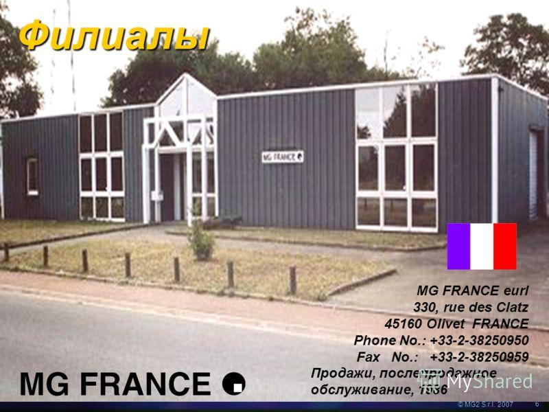 © MG2 S.r.l. 2007 6 MG FRANCE eurl 330, rue des Clatz 45160 Olivet FRANCE Phone No.: +33-2-38250950 Fax No.: +33-2-38250959 Продажи, послепродажное обслуживание, 1986 Филиалы