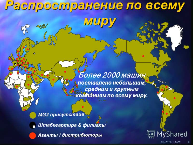 © MG2 S.r.l. 2007 8 Штабквартира & филиалы дистрибюторы Агенты / дистрибюторы MG2 присутствие Распространение по всему миру Более 2000 машин поставлено небольшим, средним и крупным компаниям по всему миру.