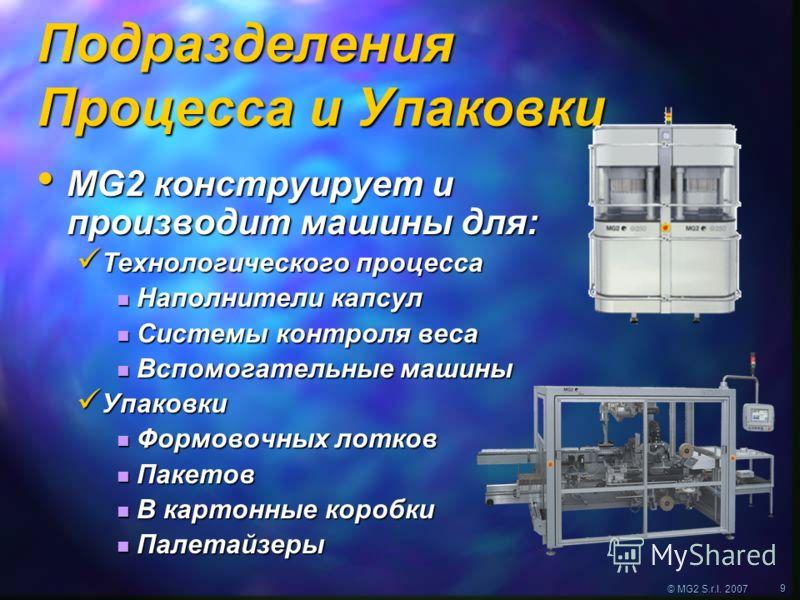 © MG2 S.r.l. 2007 9 Подразделения Процесса и Упаковки MG2 конструирует и производит машины для: MG2 конструирует и производит машины для: Технологического процесса Технологического процесса Наполнители капсул Наполнители капсул Системы контроля веса