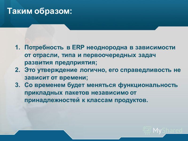 Таким образом: 1.Потребность в ERP неоднородна в зависимости от отрасли, типа и первоочередных задач развития предприятия; 2.Это утверждение логично, его справедливость не зависит от времени; 3.Со временем будет меняться функциональность прикладных п