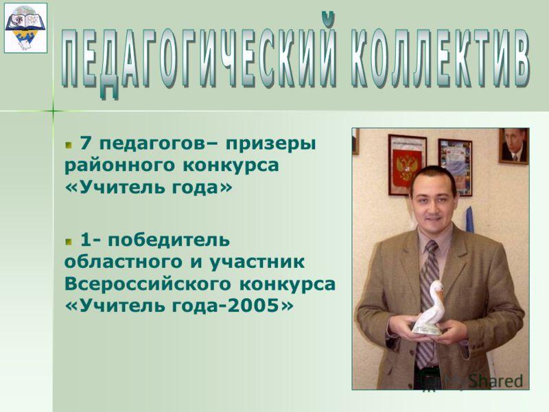 7 педагогов– призеры районного конкурса «Учитель года» 1- победитель областного и участник Всероссийского конкурса «Учитель года-2005»