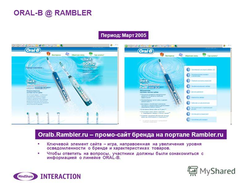 ORAL-B @ RAMBLER Oralb.Rambler.ru – промо-сайт бренда на портале Rambler.ru Ключевой элемент сайта – игра, направоенная на увеличения уровня осведомленности о бренде и характеристиках товаров. Чтобы ответить на вопросы, участники должны были ознакоми