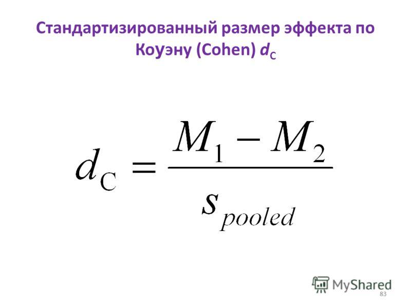 83 Стандартизированный размер эффекта по Ко у эну (Cohen) d C 83